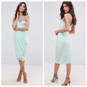 City Goddess (ASOS) Mint Wrap Midi Dress